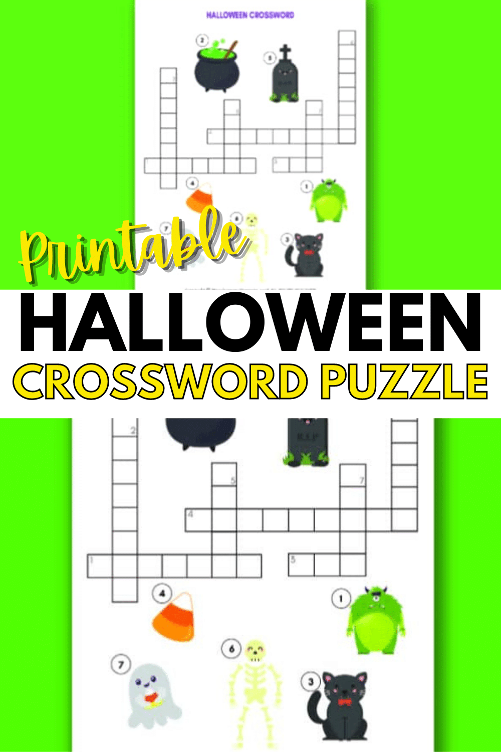 A printable Halloween crossword puzzle is great for school, fall parties or just for fun at home. Crossword puzzles are a great activity for kids. #crosswordpuzzle #halloween #printables via @wondermomwannab