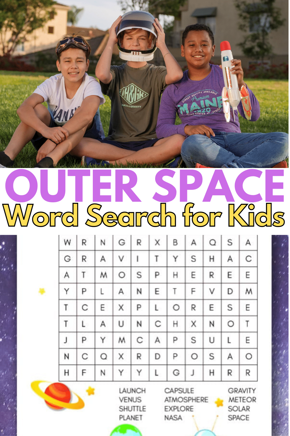 This printable outer space word search for kids is a fun and educational way for children to learn words about space and our galaxy. #outerspace #wordsearch #printables via @wondermomwannab