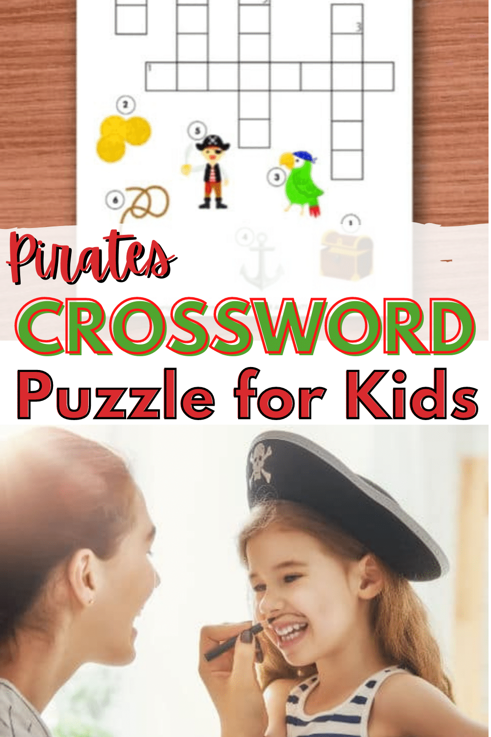 A pirates crossword puzzle for kids is the perfect printable activity for pirate-themed parties and summer celebrations. Pirate loving kids will enjoy this. #pirates #printable #crosswordpuzzles via @wondermomwannab