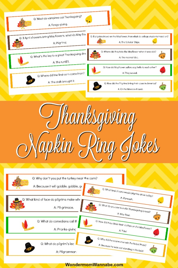 These printable Thanksgiving jokes napkin rings are an easy way to bring laughter and fun to your Thanksgiving table and kids will love to tell them! #thanksgiving #printables #Thanksgivingjokes via @wondermomwannab