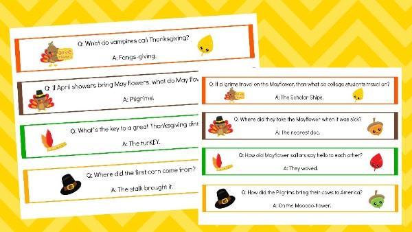 printable Thanksgiving jokes napkin rings on a yellow background