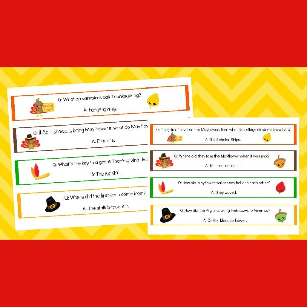 printable Thanksgiving jokes napkin rings on yellow and red backgrounds