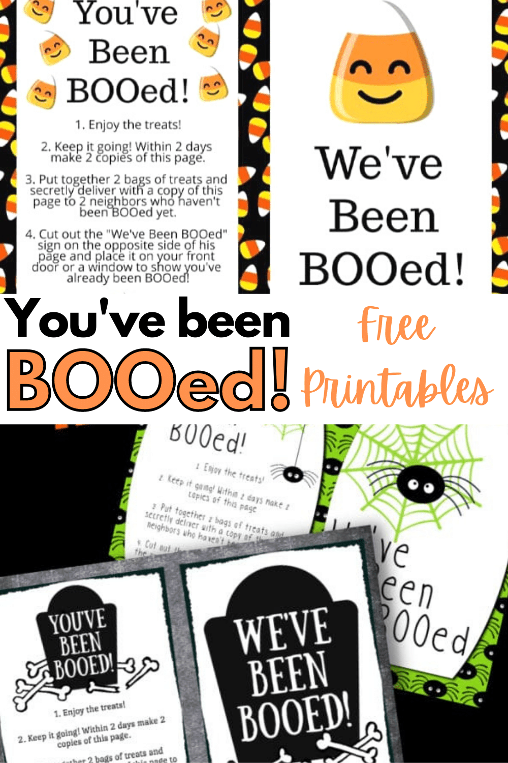 Three different You've Been BOOed printables to make Halloween extra special this year. A fun way to spread Halloween cheer around your area. #halloween #printables #youvebeenbooed via @wondermomwannab