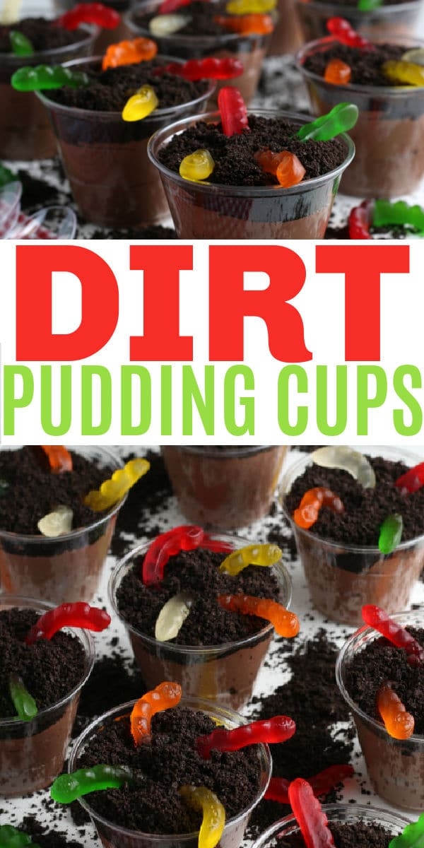 Dirt Pudding Cups with Gummy Worms are a fun snack for children and easy enough that they can help you make the treats. #puddingcups #dirtpudding #snacks via @wondermomwannab