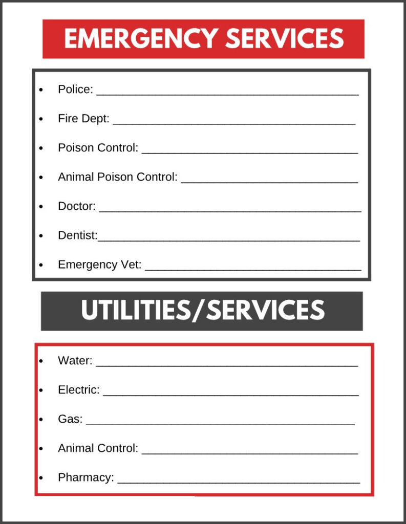 printable for emergencyservices and utilities