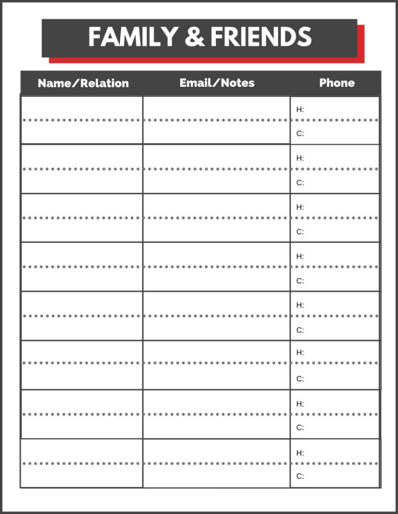 printable emergency form for family and friends