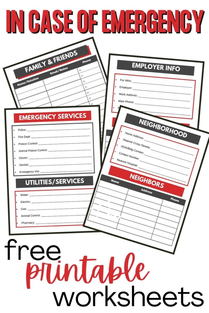 Free printable In Case of Emergency Forms