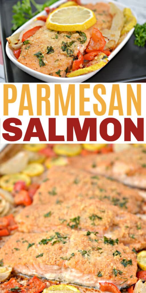 a collage of Keto Parmesan Crusted Baked Salmon in a white dish and on a baking pan with title text reading Parmesan Salmon