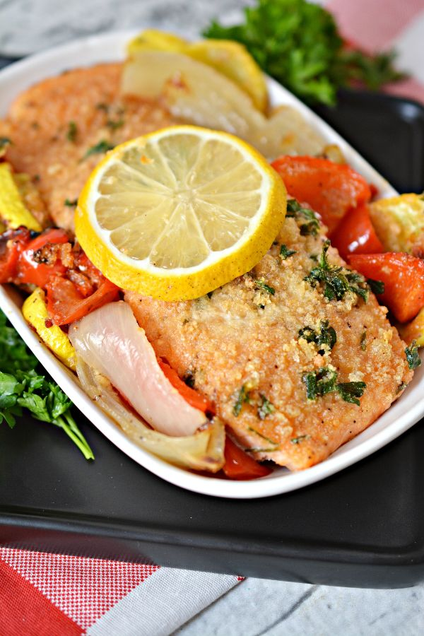 Keto Parmesan Crusted Baked Salmon on a sheet pan