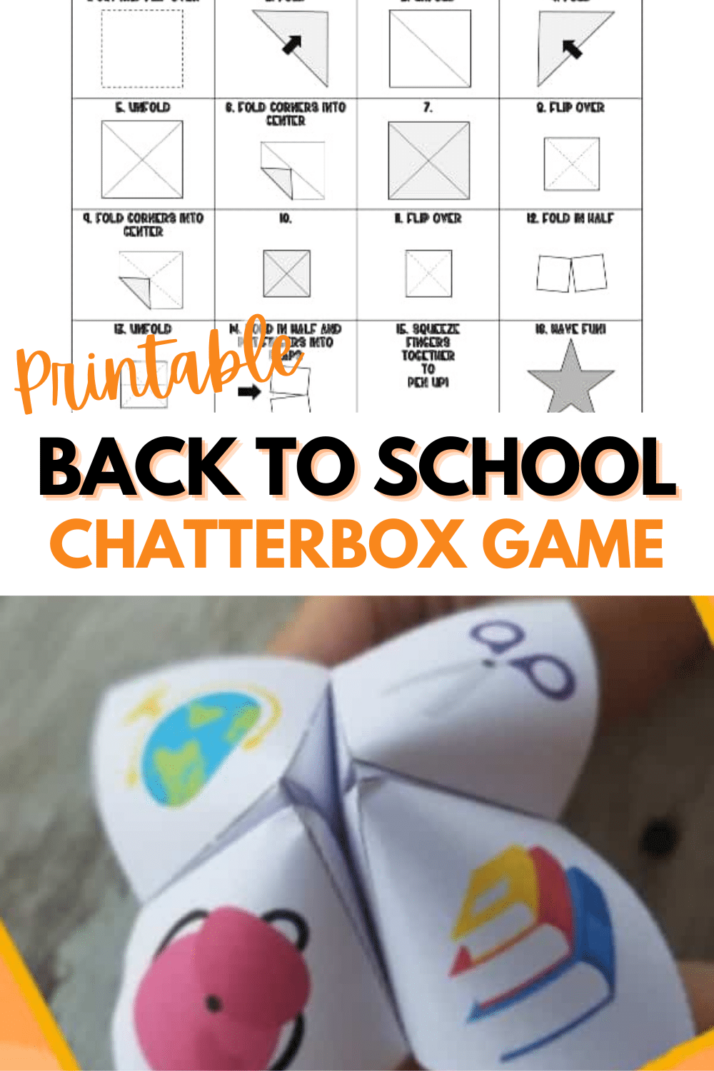 A printable back to school chatterbox game is a fun way to start the school year. This game is a great conversation starter to get kids talking. #printables #backtoschool #chatterboxgame via @wondermomwannab