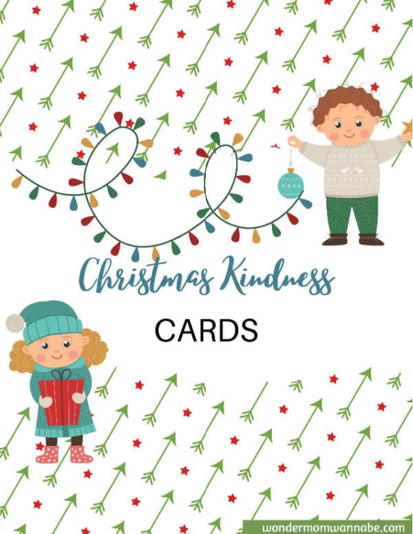 graphics of a boy and a girl dressed in winter clothes next to green arrows, red stars, and a string of lights with title text reading Christmas Kindness Cards