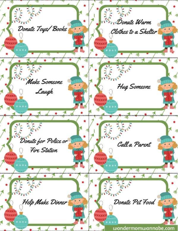printable Christmas kindness cards for kids