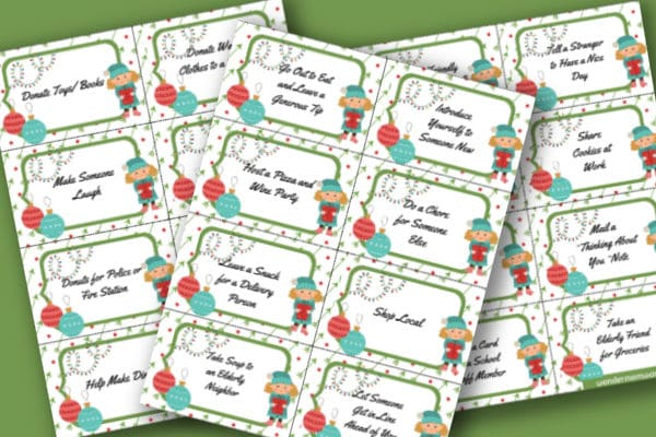 printable Christmas kindness cards on a green background