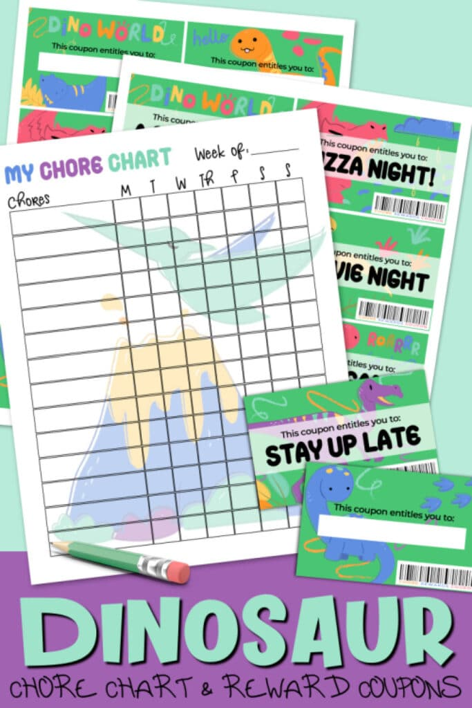 printable dinosaur chore chart with reward coupons