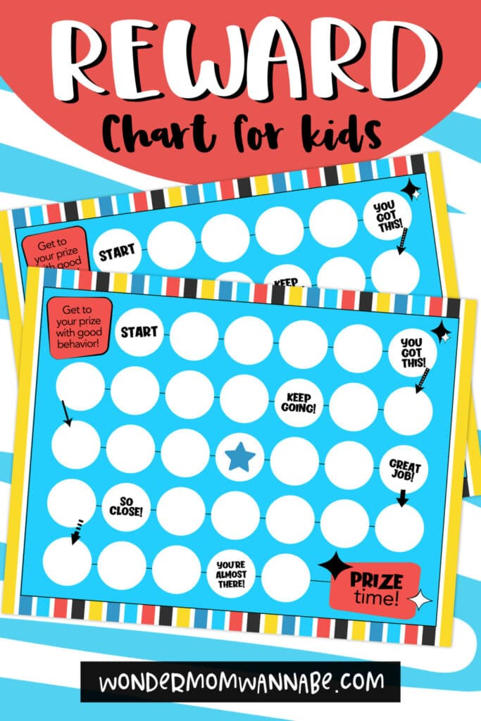 printable reward chart for kids on a blue and white background with title text reading Reward Chart for Kids