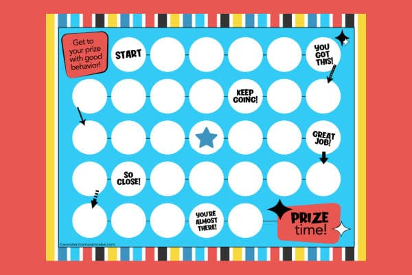 printable reward chart for kids on a red background