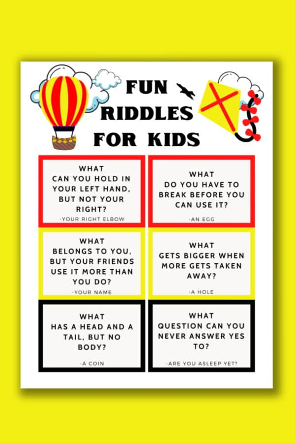 fun printable riddles for kids on a yellow background