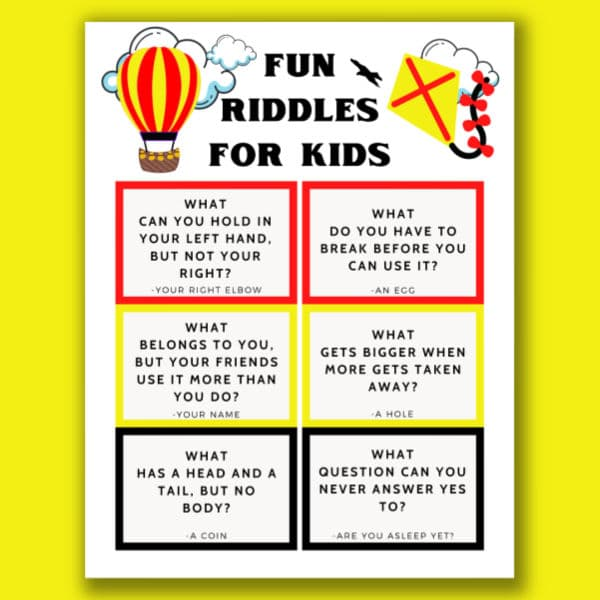 printable riddles for kids on a yellow background