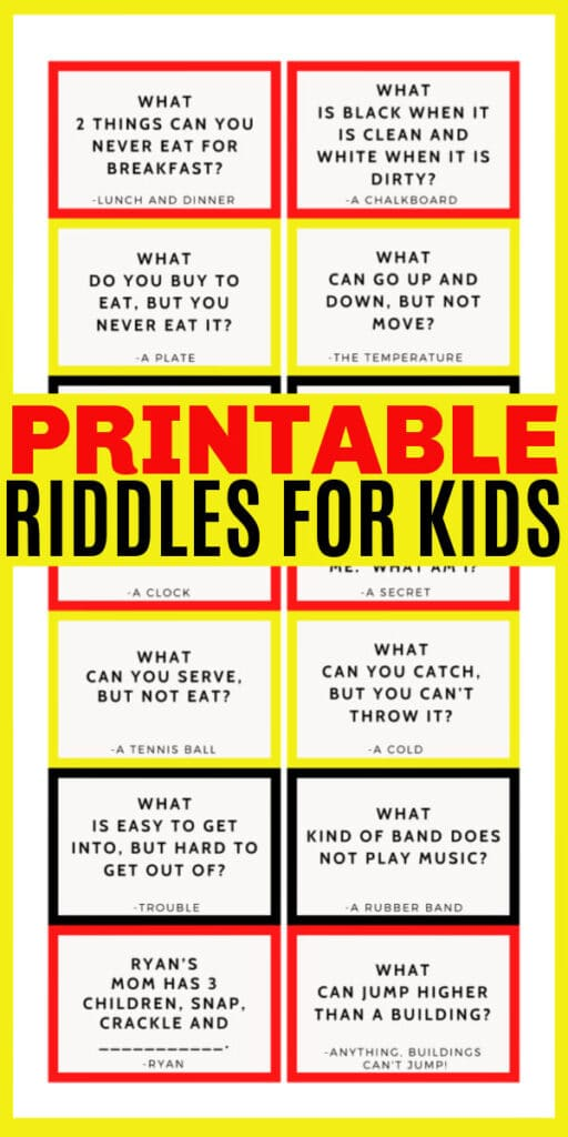 printable riddles for kids with title text reading Printable Riddles for Kids