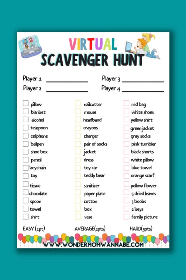 printable Virtual Scavenger Hunt on a teal background