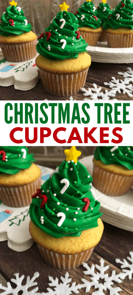 a collage of Several cupcakes with green frosting on top in the shape of a Christmas tree, with candy cane sprinkles and a star on top. Snowflakes are in the background with title text reading Christmas Tree Cupcakes