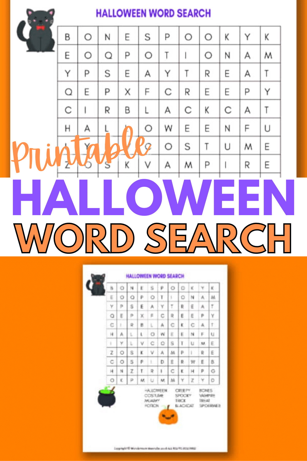 A printable Halloween word search for kids is a great activity for children for home or even for school Halloween and fall parties. #halloween #wordsearch #printables via @wondermomwannab