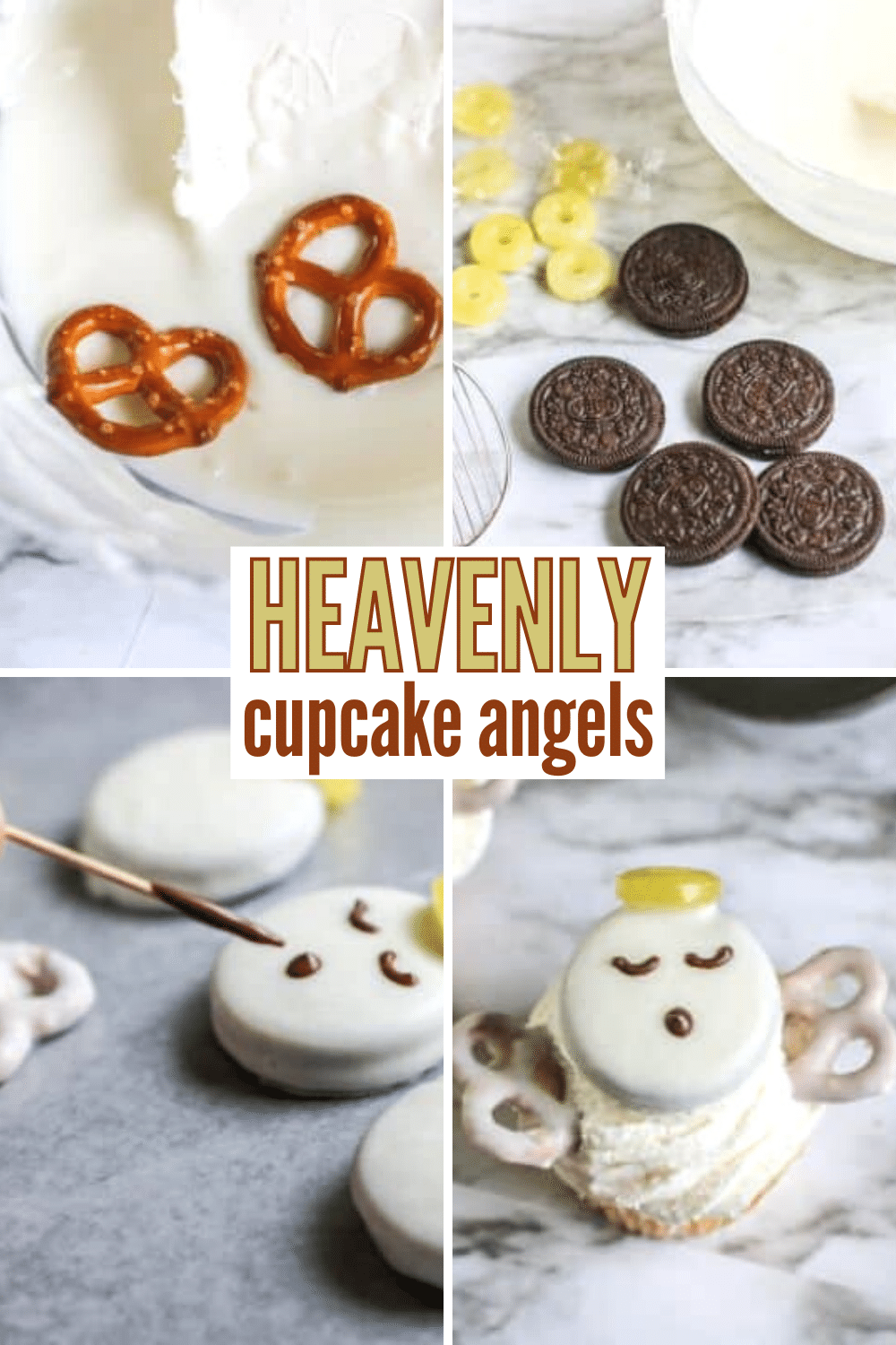 These heavenly cupcake angels only take a few simple ingredients to create and make a fun, but subtle addition to your dessert table. Ideal for any religious-based holiday or party. #clevercupcakes #funfood #angels #cupcakes via @wondermomwannab