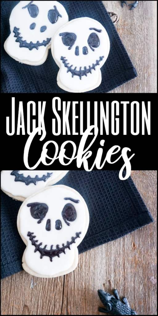 a collage of two cookies decorated with white frosting and black gel to look like Jack Skellington on a black linen on a wood table with a fake mouse next to it with title text reading Jack Skellington Cookies