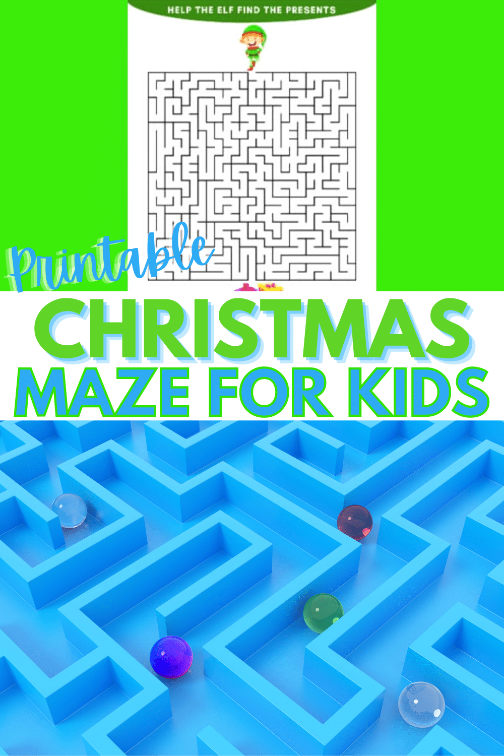 A printable Christmas maze for kids is a fun indoor activity for restless kids who are excited about the holidays. This is perfect for class parties! #printables #christmasactivities #maze via @wondermomwannab