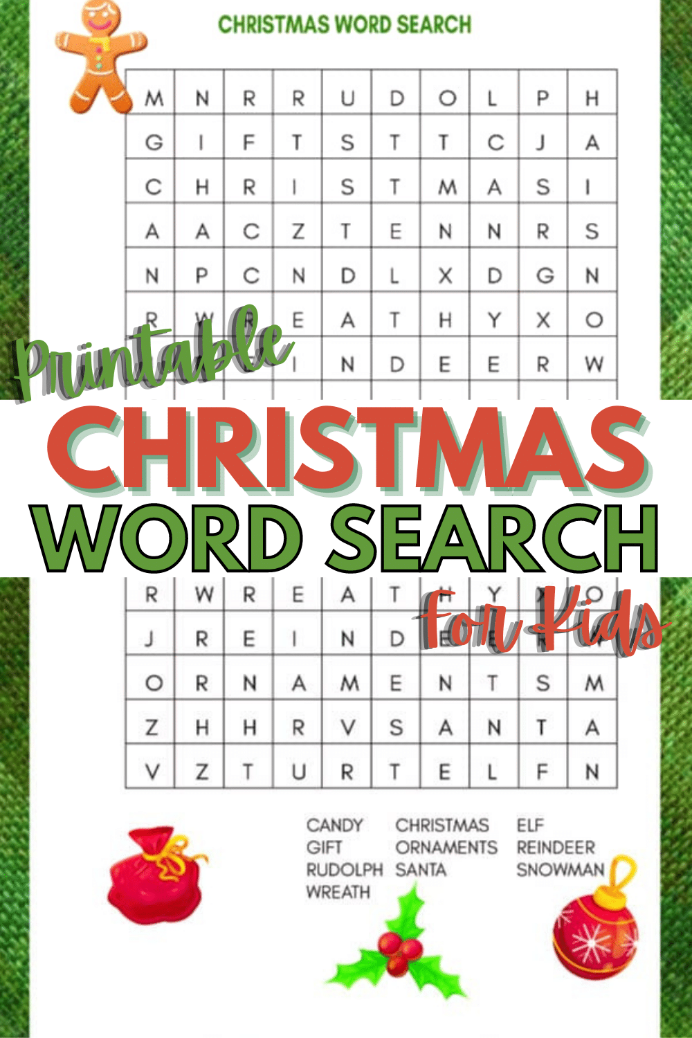 A colorful and fun printable Christmas Word Search for Kids is a great activity for kids to complete at home or at school for holiday parties. #wordsearch #printables #Christmas via @wondermomwannab