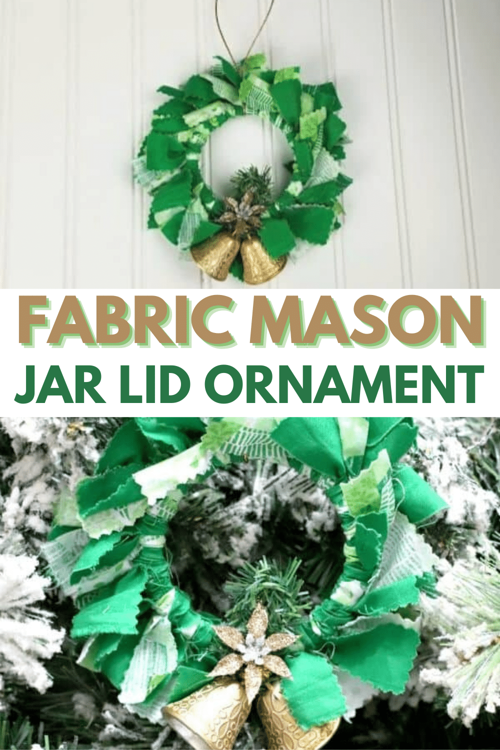 These DIY fabric mason jar lid ornaments are so easy to make and are a great way to use up scrap fabric and repurpose old mason jar lid rings. #diyornaments #christmas #repurpose via @wondermomwannab