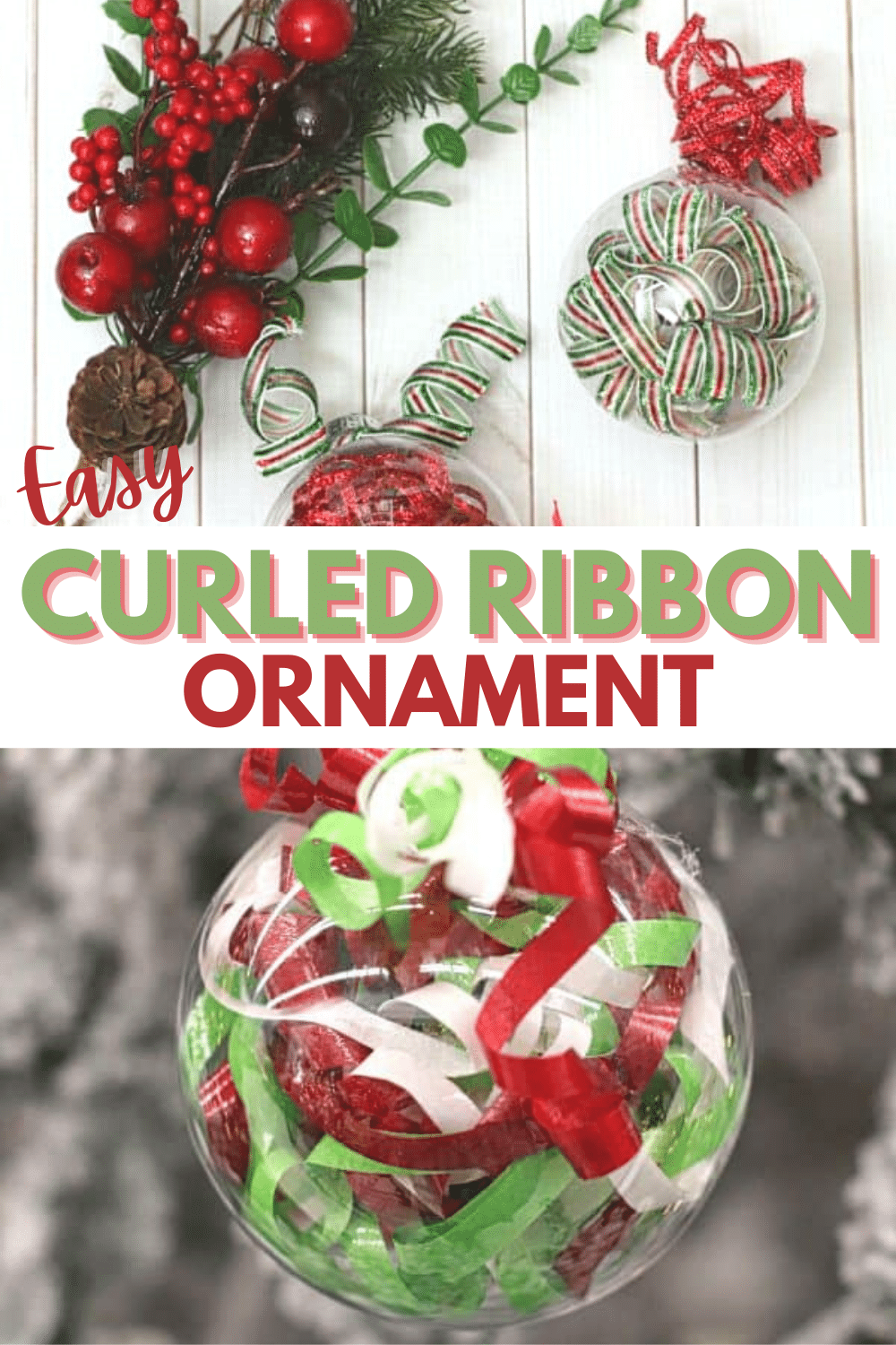 These curled ribbon ornaments are so festive and pretty, it's hard to believe they're so easy that you can make them in just minutes! #ornaments #christmas #diy via @wondermomwannab
