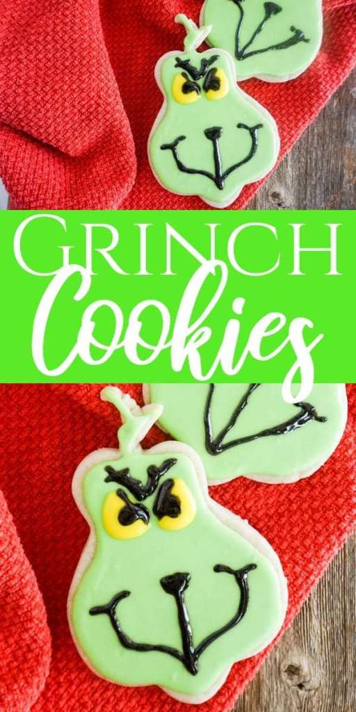 cookies in the shape of the Grinch, frosted with green, black and yellow frosting to look like the Grinch on a red linen on a wood table with title text reading Grinch Cookies