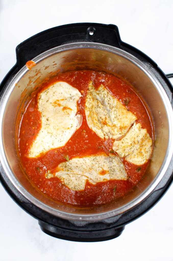 Chicken in a tomato sauce in an instant pot.
