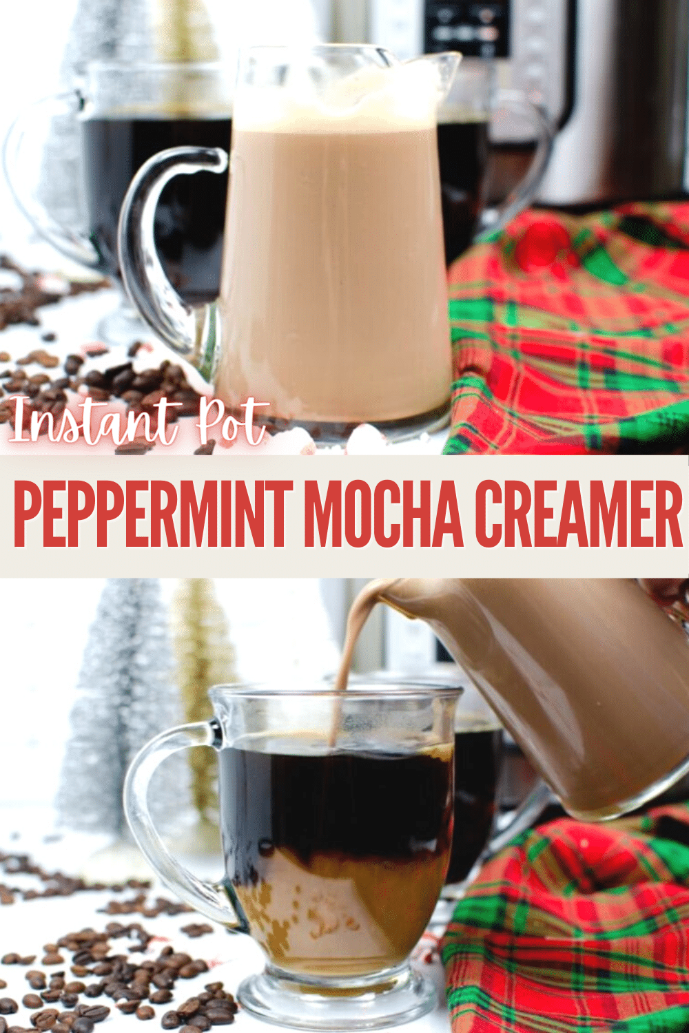 This recipe for Peppermint Mocha Creamer is so easy and takes no time at all if you have an Instant Pot! #coffeelovers #peppermintmocha #instantpot #DIYchristmasgift via @wondermomwannab