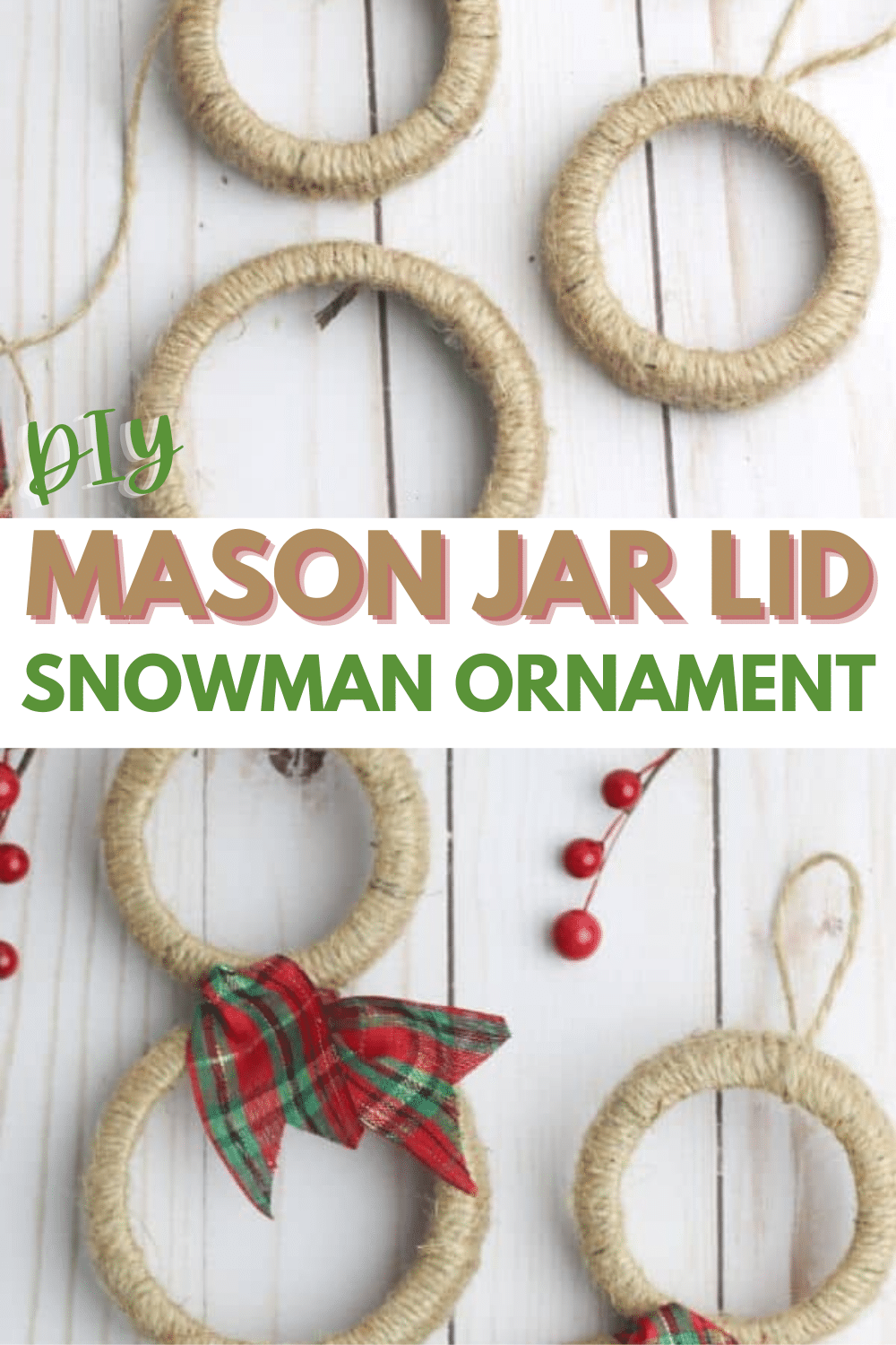 These Mason Jar Lid Snowmen Ornaments are so cute and really easy to make! This is a fun holiday project to do with the kids! #Christmas #ornaments #DIY #masonjarcraft via @wondermomwannab