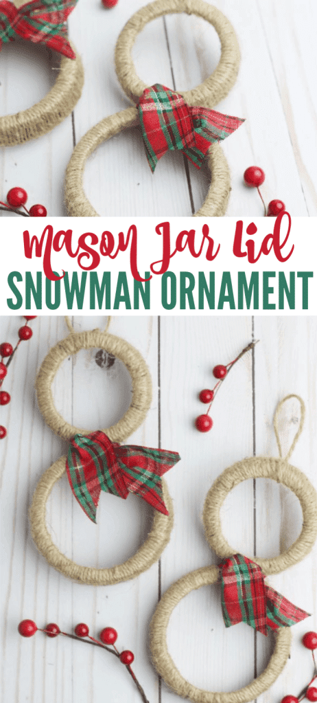 a collage of mason jar lids wrapped in twine and decorated with a red and green ribbon to look like snowmen ornaments next to red berries on a white wood table with title text reading Mason Jar Lid Snowman Ornament
