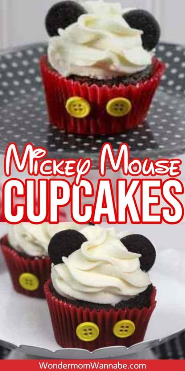 These Mickey Mouse Cupcakes are perfect for any Disney themed party, any get together, or when watching a new Disney release or a favorite classic. They're easy to make and the kids can help! #mickeymouse #cupcakes #disney #party via @wondermomwannab