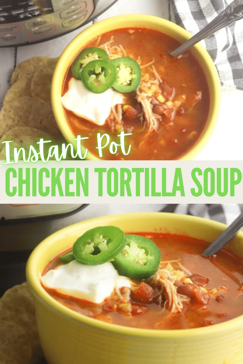 Instant pot chicken tortilla soup is easy to make at home. Loaded with beans and vegetables, you'll love the spicy mexican tortilla soup. #chickentortillasoup #tortillasoup #chicken #soup #mexicanfood via @wondermomwannab