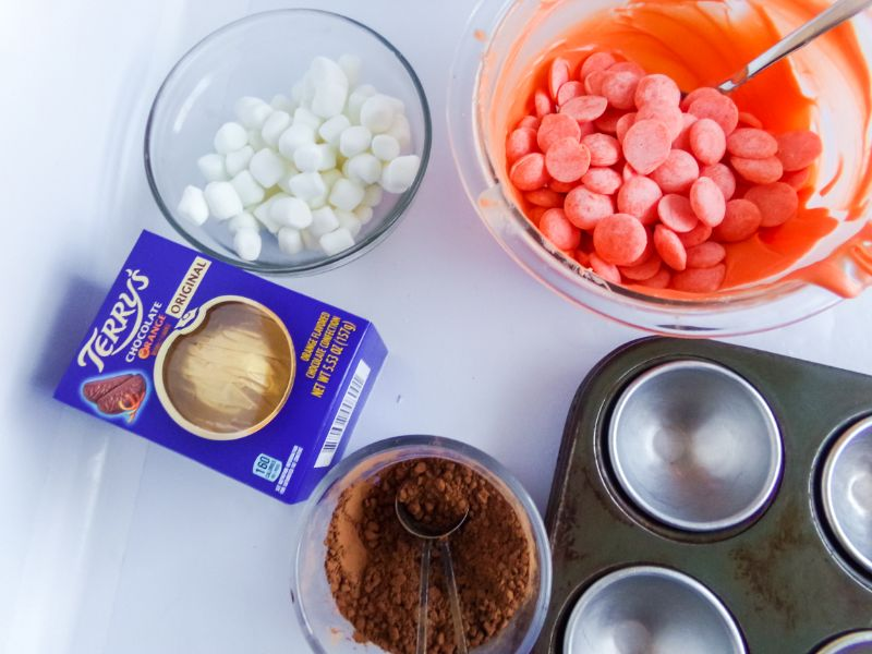 ingredients needed to make Chocolate Orange Hot Cocoa Bombs