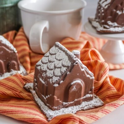 Gingerbread House Hot Cocoa Bombs close up