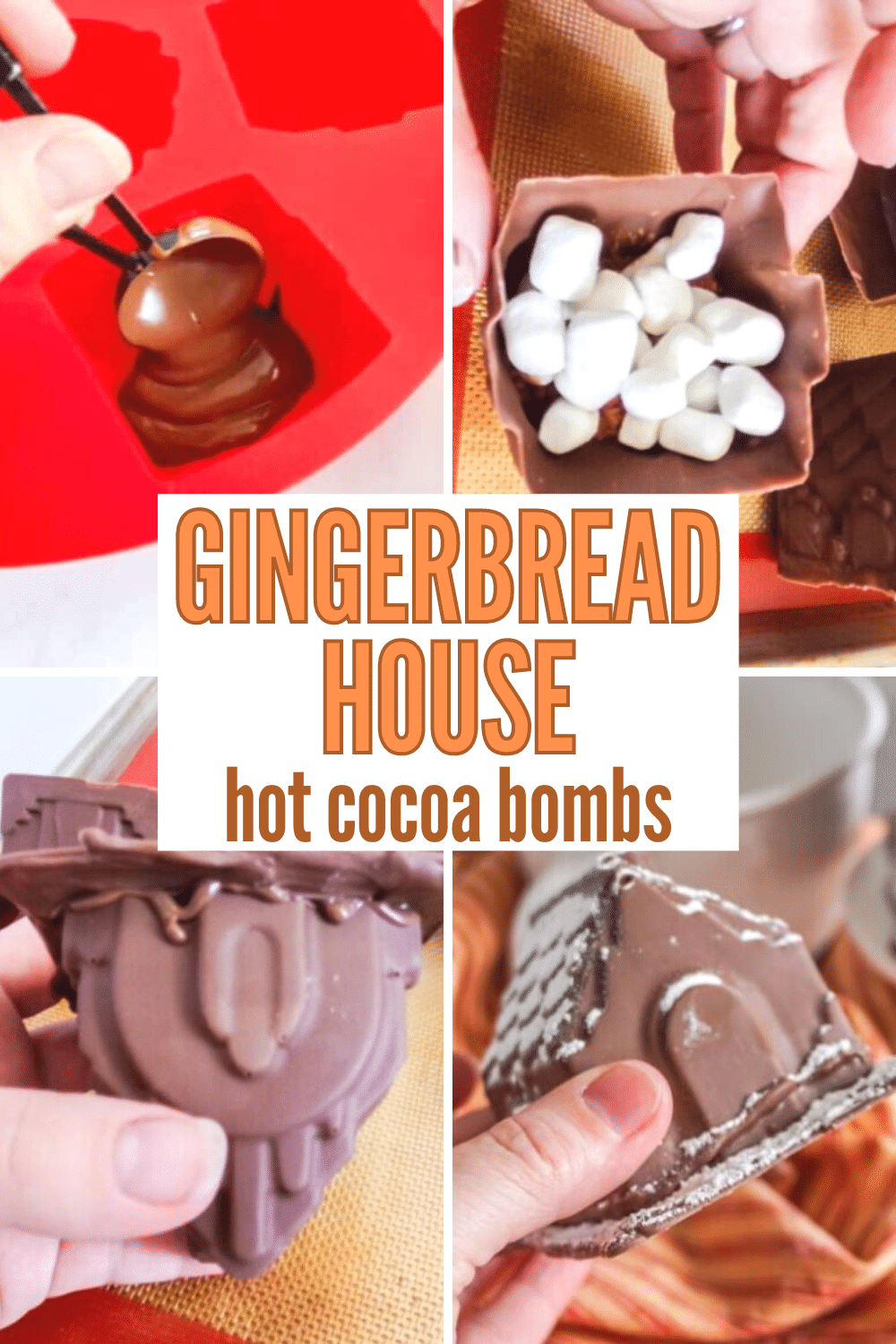 These Gingerbread House Hot Cocoa Bombs are unlike any cocoa bomb you're ever seen! So simple and delicious! #hotcocoabombs #hotcocoa #gingerbreadhouse #christmas via @wondermomwannab
