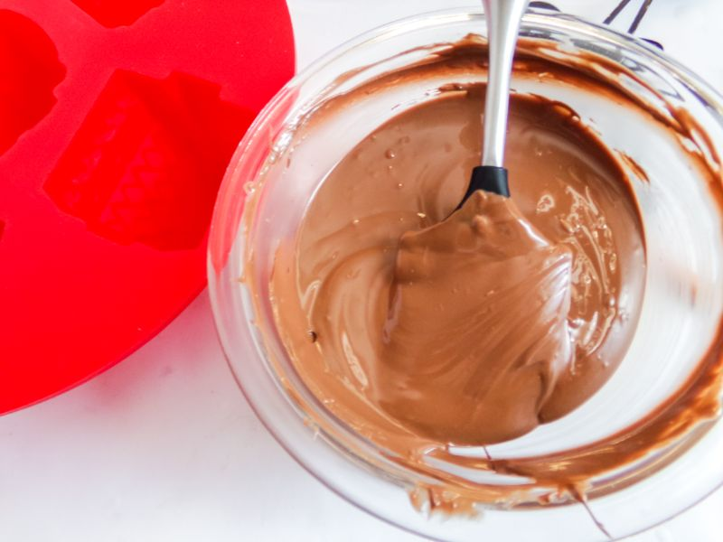melting chocolate to add to molds