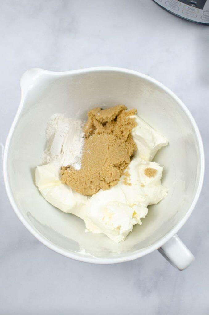 Graham cracker crust ingredients in a white bowl