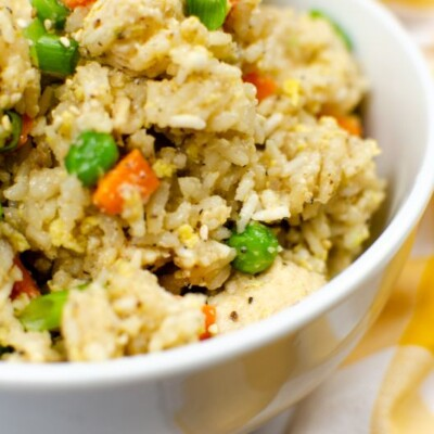 Instant pot chicken fried rice in a white bowl.