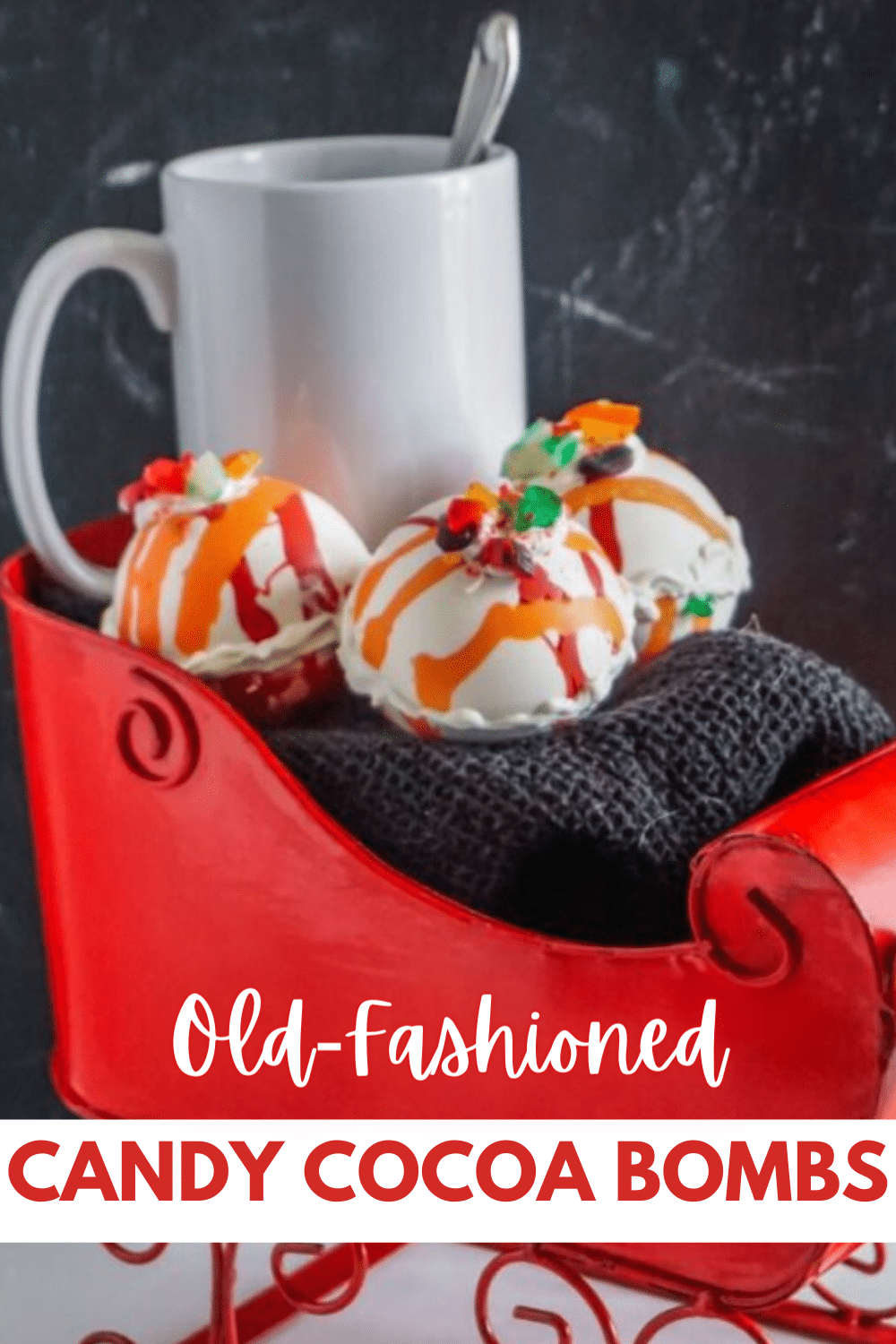 These Old Fashioned Candy Hot Cocoa Bombs are legit amazing and delicious! They're so simple to make as well! #hotcocoabombs #hotcocoa #oldfashionedcandy #christmas via @wondermomwannab