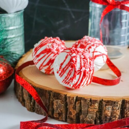 Peppermint Hot Cocoa Bombs on serving tray
