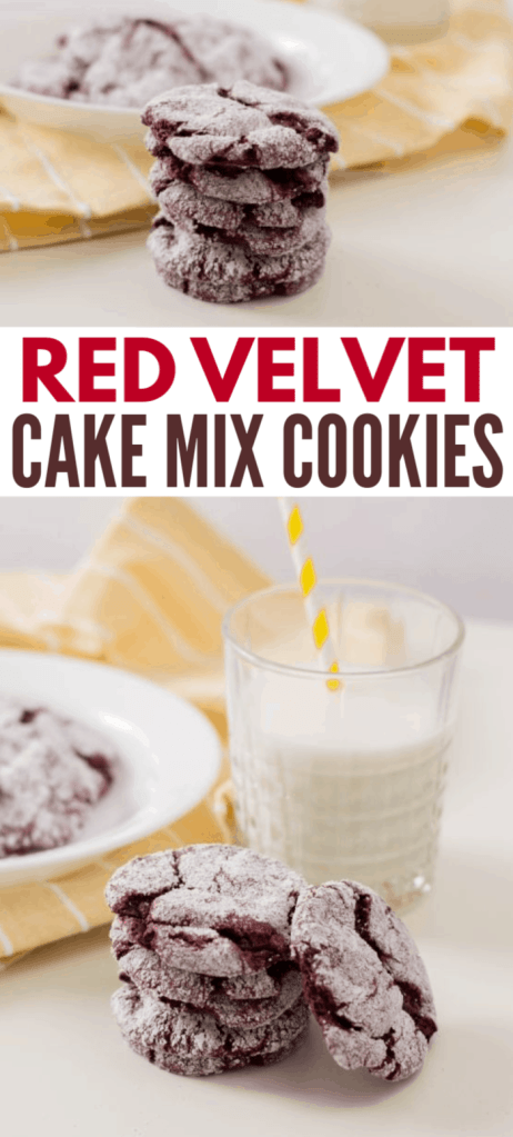 a collage of red velvet cookies stacked on a white table with more cookies on a white plate in the background on a yellow cloth next to a glass of milk with title text reading Red Velvet Cake Mix Cookies