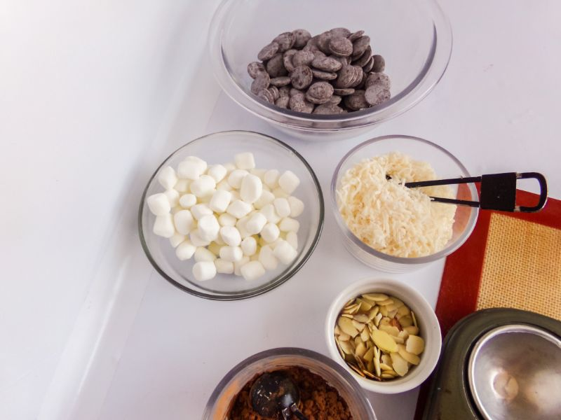 ingredients needed to make almond joy hot cocoa bombs