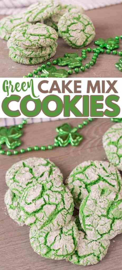 a collage of green cookies on a brown table with green beads with clovers on them and a cloth in the background with title text reading Green Cake Mix Cookies